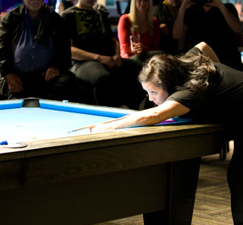 Join a pool league at Corner Bank Sports Bar and Grill