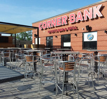 Patio party at Corner Bank Sports Bar and Grill